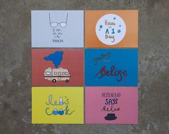 Sale - Breaking Bad Set of 6 illustrated postcards