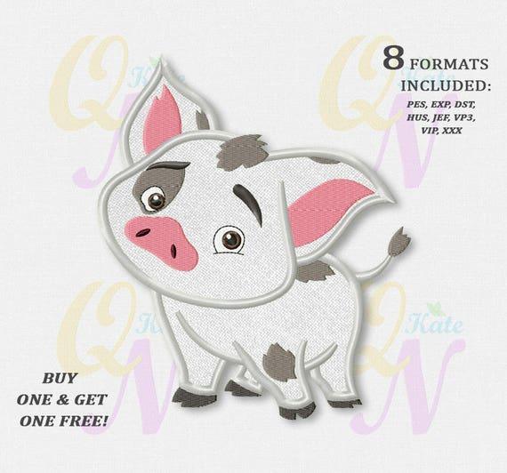 Bogo Free Pua Pig Applique Embroidery Designs Moana Machine