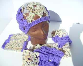 Crocheted Granny Square Hat, Scarf, and Wristlets - 1 Set Available