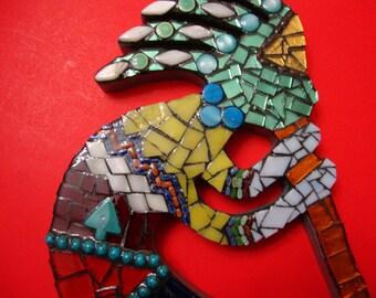 Mosaic Kokopelli Mixed Media ooak Stained Glass  Original Design