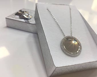 silver necklace cable chain eye pendant with zircon