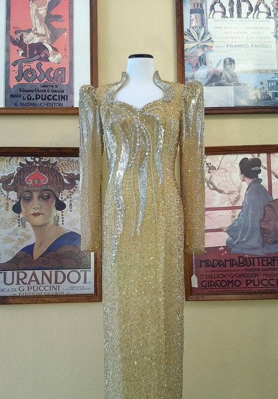 Dazzling Oleg Cassini 80s Gold Beaded Evening Gown,100% Silk,Size 6.