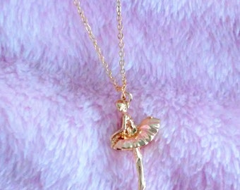 Little Golden Ballerina Necklace - Gift for Her - Sweet Lolita Jewelry - Fairy Kei - Kawaii - Dreamy - Dancer Gift
