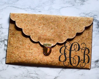Cork Envelope Clutch with Scalloped Edges