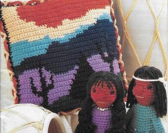Vintage Annie's Attic Crochet Newsletter Sept - Oct 1988 Number 35 Crochet Pattern Booklet Navajo Native American Dolls Victorian Handbag