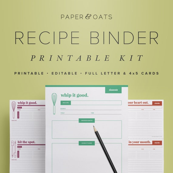 Striking image with free printable recipe binder templates