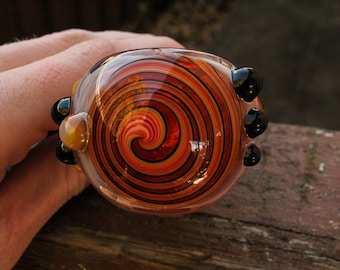 Line Work Hand pipe / Thick glass / Color changing glass