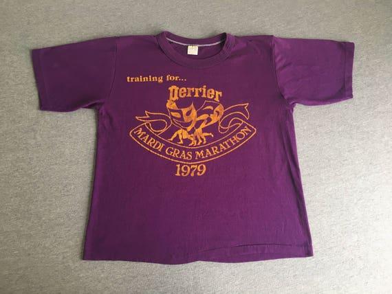 MARDI GRAS MARATHON Shirt 1979 Vintage/ 70's Perrier Water Mask Party Racing Run Tshirt/ Super Soft & Thin Purple UsA Made Medium Vtoza