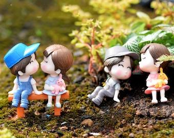 3 Pc Couple with bench Miniature Garden Plants Terrarium Doll House Ornament Fairy Decoration CM051718