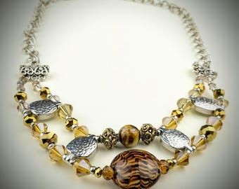 Brown beaded necklace, silver necklace, brown and silver necklace, unique necklace