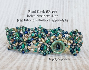 Bead Pack BB-199 Jaded Northern Star Bracelet - Free Pattern by Nela Kábelová Available Separately, BB199 Jaded Bead Pack