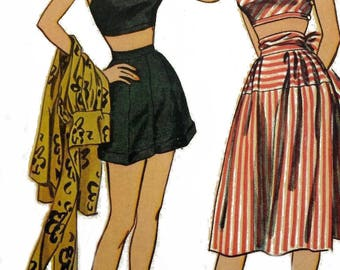 """Vintage 1950's Sewing Pattern Beach Wear Play Suit Shorts & Skirt 1 Shoulder Cropped Top Bust 32"""" Reproduction"""