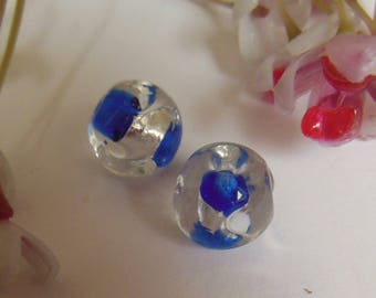 set of 2 round style lampwork beads blue