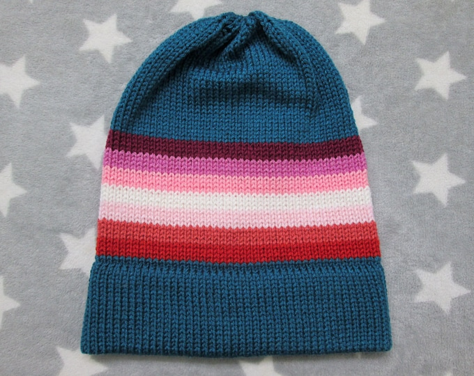Knit Pride Hat - Lesbian Pride - Turquoise - Slouchy Beanie - Acrylic