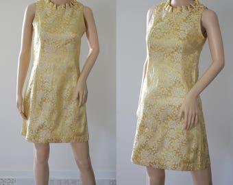 SALE - Adorable 60s Gold Mini Dress