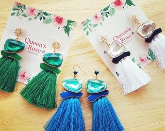 Tassel Earrings, Earrings, blue, birthday gift, gift, unique