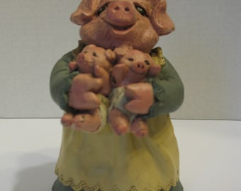 Pig and Piglets Pottery Figurine