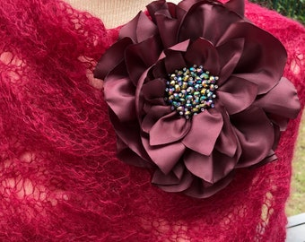 Pin brooch Fabric /Burgundy  Pin  Flower/ Brooch/ Handmade Wedding Accessory/ Party/Birthday/Mother of the Bride/Groom/Bridesmaid/Handmade