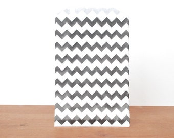 goody bags treat bags: 10 black and white gift bags, black striped chevron, favor bags