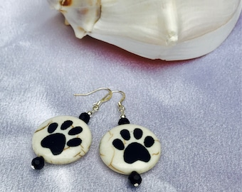 I Love My Dog Earrings / Dog Lover Earrings / Black and Cream Paw Print Earrings / Dog Lover Earrings /paw Print Jewelry