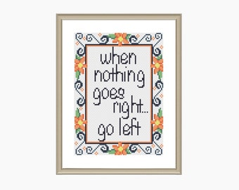 Cross Stitch Pattern, Modern Cross Stitch - GO LEFT cross stitch pattern - Downloadable PDF