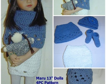 0079  Winter Patience Skirt,Miniature 13in Maru and Friends,14in Betsy McCall Pattern,Doll Clothing 4PC Pattern Set  by CarussDesignZ