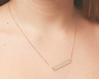 Gold or Silver Bar Necklace, Name Plate Necklace, Personalized Gold Necklace, Layering Necklace, Dainty Gold Filled Jewelry,Bridesmaid Gift.