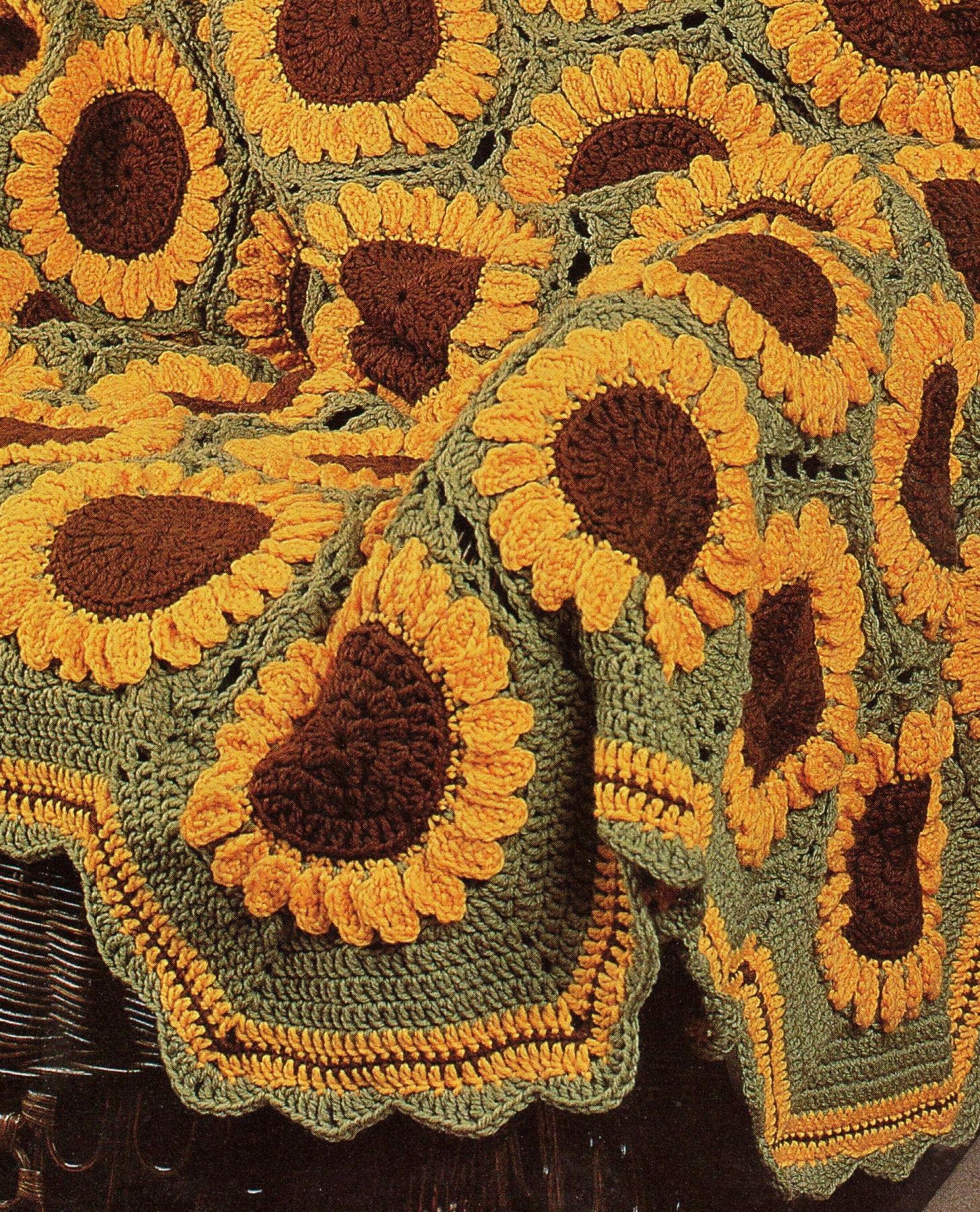 Vintage Crochet Sunflowers Afghan Pattern PDF Instant Digital