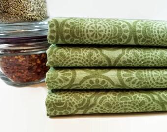 Cloth Dinner Napkins- Set of 4- 100% Cotton- Eco-Friendly - Olive Mandala