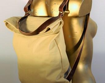 White leather roll backpack/Handbag