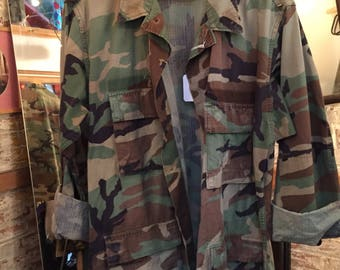 Custom Studded Vintage Military Army Camouflage Jacket