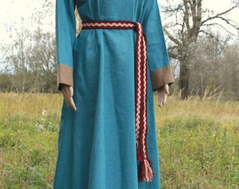 SALE Early Medieval linen underdress gown, Turquoise SIZE S   100% linen. Viking costume, reconstruction.