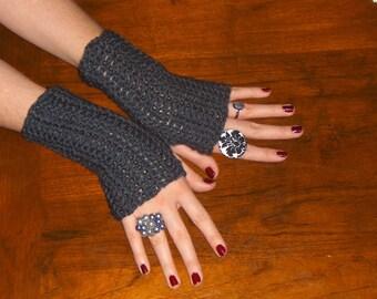 The Charcoal Fingerless Gloves Dark Gray Arm Warmers Driving gloves, Smoking Gloves, Hand Warmers  Texting Gloves Handmade Crocheted  Simple