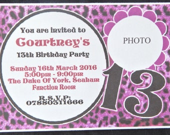 New 25 - 32 - 40 - 50 x Personalised With Photograph 13th (Thirteen) Birthday Invitations Design TN1, Free Envelopes, Reduced Postage