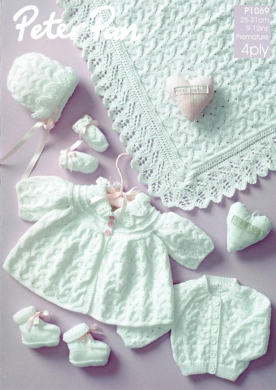 Original bebé prematuro bautizo canastilla tejer patrón Wendy P1069 ...