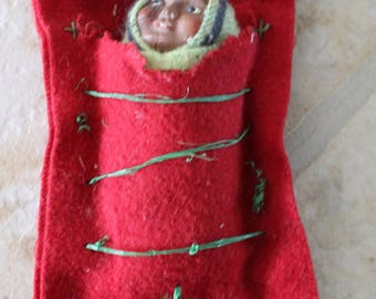 Vintage 1950's Miniature Native American Indian Baby in Papoose
