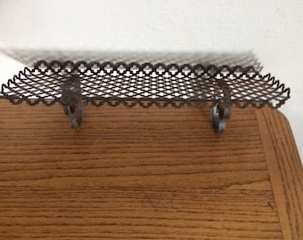 Vintage metal shelf,1950's punched metal, shabby chic