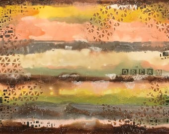 """11 X 14 inch Abstract Art on Gessobord, """"Dream"""""""