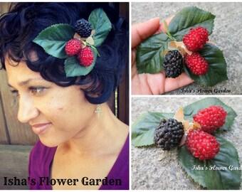 Realistic blackberry hair clip, OOAK, blackberries hair flower, blackberry summer, berry hair clip