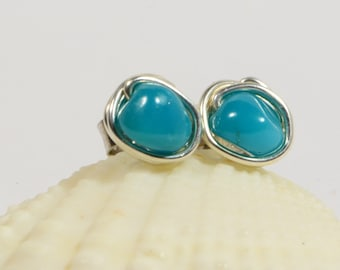 Sleeping Beauty Turquoise Studs earrings, Tiny Earrings, Sterling Silver Post Earrings, Gemstone Earrings
