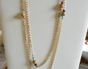 Gold Tone Chain Beaded Summer Necklace