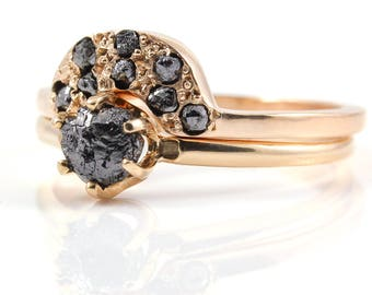 Rough Diamond Ring Set 14K Rose Gold - Classic Solitaire Ring with Matching Band - Jet Black Uncut Diamonds