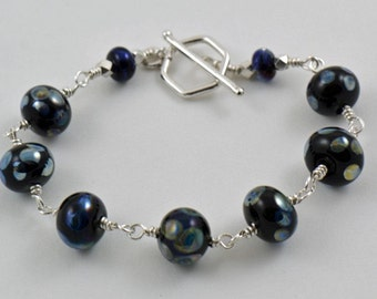 Black with Aurae Handmade Glass Beads and Sterling Silver Bracelet