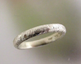 Rustic Silver Wedding Band, Mens Wedding Ring, Unique Ring, Textured Silver Ring, Made to order in your size