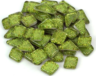 Lime Green Glitter Mosaic Tile Pieces - Bulk Sparkle Mosaic Tiles - Shimmer Tile Assortment - Olive Pea Grass Green Tiles