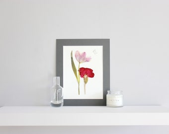 Butterfly picture, butterflies wall art, pressed flowers picture, dried flower art, modern wall art, flower picture, floral art, herbarium