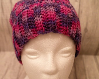 MADE TO ORDER Ponytail, messy bun hat, crochet, joggers hat, pinks & purples