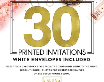Set of 30 printed invitations / cards