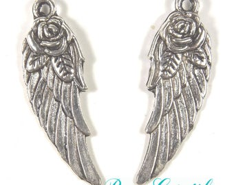 Pendants angel wing charms, Angel Wings, pink, light pink, length 30mm, width 11mm, hole 1.5 mm, silver, 5 pieces