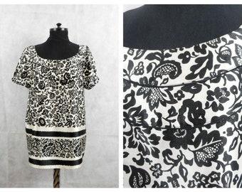 Gerard Darel  Top, Flowers Print, Black White, Tunic Blouse